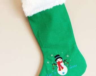 Christmas stocking with cute snowman