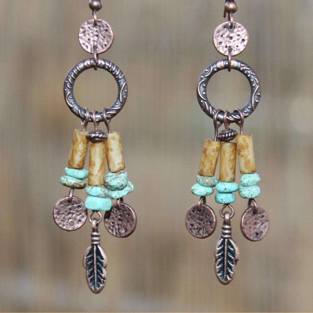 Boho Earrings Bohemian Earrings Turquoise Copper Earrings Boho