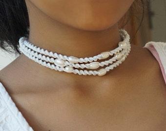 Macrame Pearl Choker Necklace, White Pearl Choker, 3 Strand Necklace, Wedding Choker, Wedding Collar Necklace