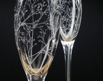 Spring Wedding Flutes 'Branches and Leaves' 2 Hand Engraved Champagne Flutes Bridal Party Gift Summer Wedding Decor