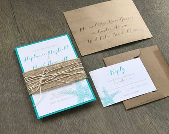 Beach Wedding Invitation Set, Starfish Wedding Invitation, Destination Wedding Invitation, Aqua Wedding Invitation, Rustic Beach Wedding