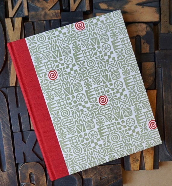 Photo Album - Large with Red and Gray Abstract Pattern
