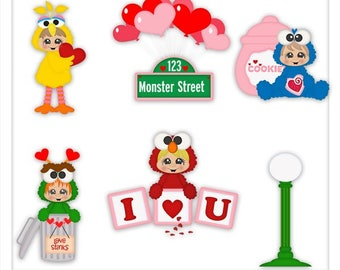 DIGITAL SCRAPBOOKING CLIPART - Monster Street Valentine - Exclusive