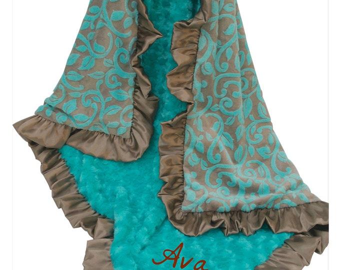 Teal Minky Blanket, Dark Turquoise and Brown Minky Baby Blanket, Marina Granada Cuddle