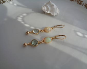 Gold earrings with opal and green amethyst, 585 gold Filled