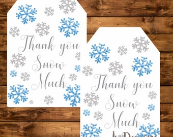 Winter wonderland tags, printable blue and silver snowflake thank you tags, Instant Download, winter hang tags, thank you snow much