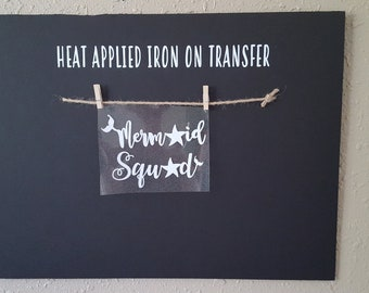 """Sale (HT-404) 4.5"""" high x 6"""" wide Mermaid Squad White Glitter Heat Applied T-Shirt Fabric Transfer Decal Ready to Ship"""