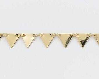 Bright Gold 7.25mm Triangle Drop Chain #CC105