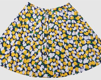 Vintage 1980s Paneled Cotton Drawstring Skirt Yellow and Navy Floral