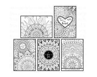 10 Printable Colouring Cards – 5 with greetings and 5 without greetings. PLUS 10 blank frames and 10 ready-made greetings - digital stamps