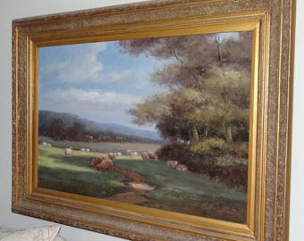 Stepano Oil on canvas painting sheep grazing
