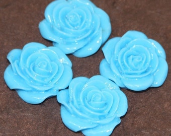 10 pcs of Acrylic  flower Cabochons  Blue -- 22X21mm