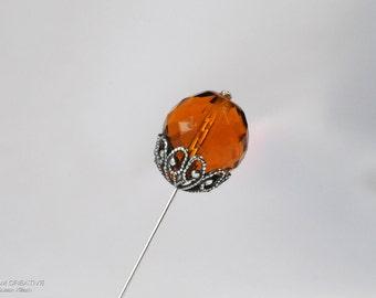 Amber Crystal Stick Pin, 3 Inch Stick Pin, Lapel Pin, Scarf Pin H0270