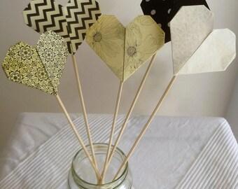 Origami hearts on sheer, retro black and ivory - wedding, birthday decoration