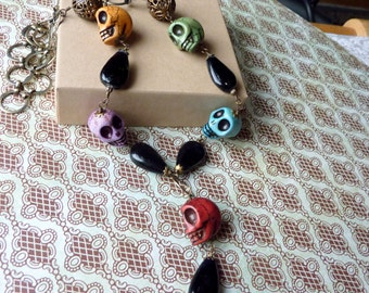 Multi-Colored Day of the Dead Skull Necklace with Antiqued Brass