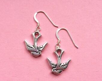 Silver swallow bird earrings - bird jewelry - animal jewellery - UK seller
