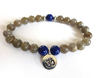 Lapis lazuli and labradorite, Aum charm bracelet