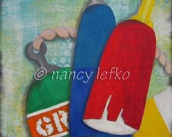 goose rocks beach buoys - 10 x 10 Original Collage on Canvas by Nancy Lefko