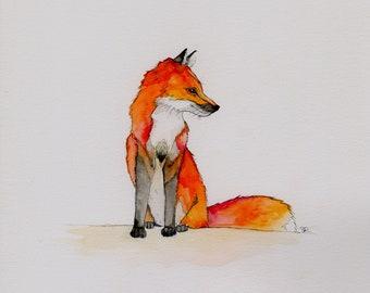 Sitting Fox, Original Watercolor Painting