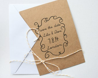 Wedding Save the Date in Kraft Brown/White -- The Garden Scrolls -- Customizable Set -- CHOOSE YOUR QUANTITY