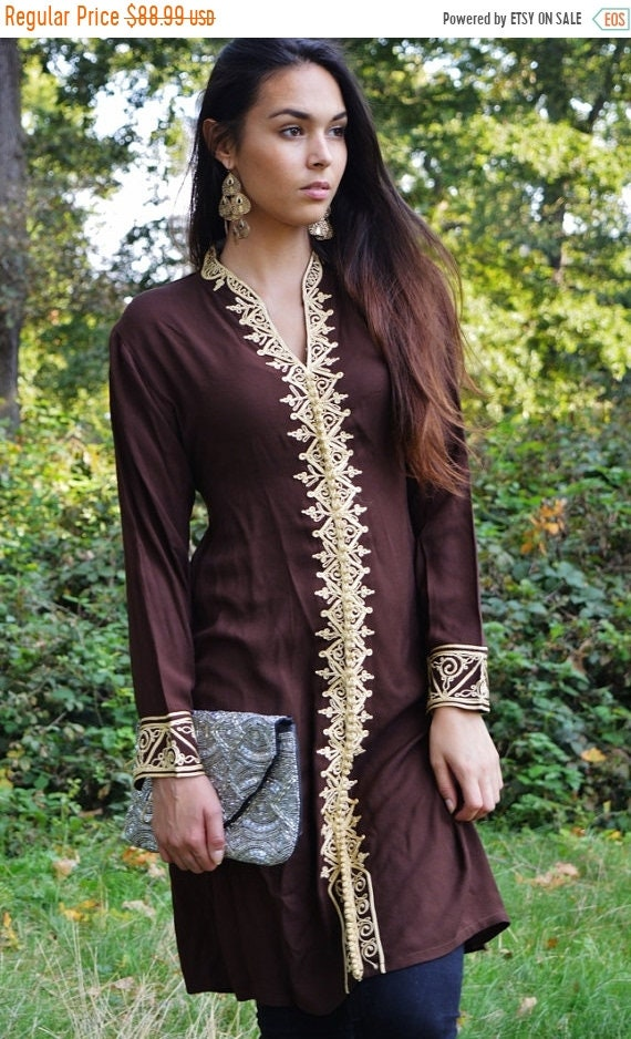 Kaftan Sale 20% Off/ Brown Tunic Dress with Gold Embroidery-Samia- perfect for birthday gifts,resort wear, Valentine's day, winter wear, boh