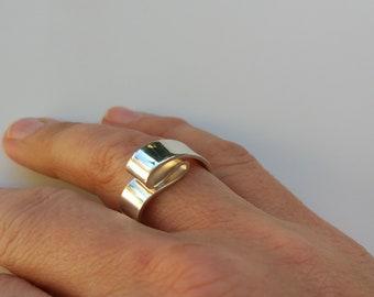 Folded silver statement ring, unique design