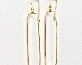 Long Gold Rectangle Earrings
