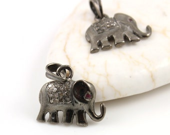 Pave Diamond Pendant, Pave Elephant Pendant, Diamond Elephant Charm, Pave Elephant Necklace, Pave Connector, Oxidized Silver. (DCH/CR120)