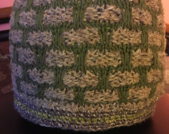 Beige and Hunter Green  Reversible knitted hat
