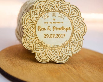 Personalised Wooden Mandala Save the Dates