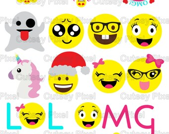 Emoji's Designs Svg and png cutting and print, Social media emojis for Cricut Designs and Silhouette Studio unicorn svg, cute emojis svg