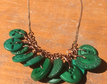 Green Button and Copper Statement Necklace