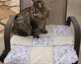 Cat Accessories, Cat Bed, Cat Bedding, Handmade Cat Blanket, Deluxe Cat Blanket, Cat Mat, Cat Throw, Furniture Pet Cover, Washable Cat Bed