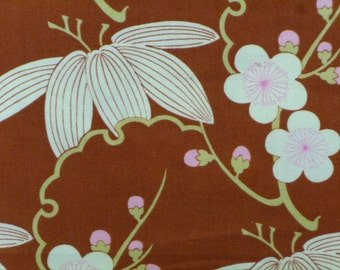 Amy Butler Fabrics, Midwest Modern Trailing Cherry, Brown, AB28, Pink, Floral