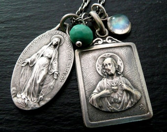 Scapular and Miraculous Medal Necklace