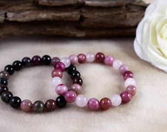 Kunzite, Rose Quartz, Tourmaline & Shungite - Heart Healing Stackable Bracelet Set