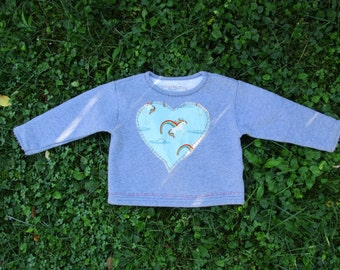 24 MONTHS UNICORN Rainbow Sweatshirt, Red Heart Embroidery,  Get Down Upcycled, Gray,  Ready to Ship