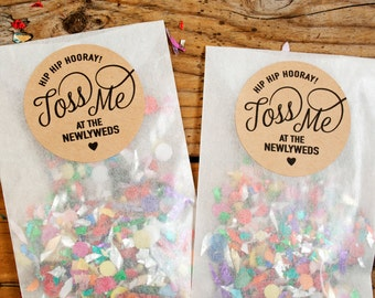 Favor Sticker Seals - TOSS ME - For Confetti and Petal Bags - Wedding Favor Stickers - 20 Kraft or Ivory Stickers