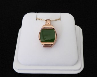 14k rose gold green nephrite recycled watch case pendant - locket necklace - unique repurposed nephrite pendant - antique rose gold pendant