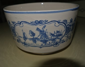 Delft Blue Planter Bowl Holland Windmill Ship Vintage Planter
