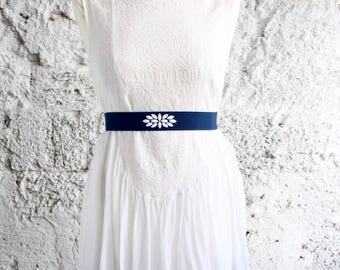 Dress belt, Blue wedding belt, Elastic belt, Blue dress belt, Wide waist belt, Woman waist belt, blue and white belt, Stretch belt