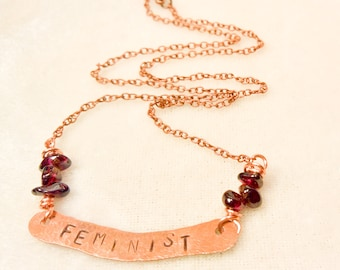 Power word hand stamp copper necklace with gemstone accents - Feminist with garnet