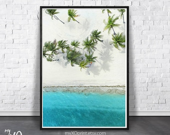 Palm Tree Print, California Beach Wall Art, Tropical Beach Print, Ocean Water, Digital Printable Art, Beach Photography, Coastal Wall Decor