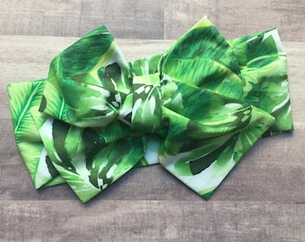 Wrap Headband - Hair Wrap - Headwrap - One Size - Newborn-Toddler-Child-Adult - Large Leaves
