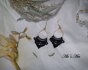 Bohemian macrame earrings , unique handmade jewelry