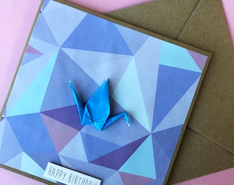 Happy Birthday Card - Blue Origami Crane, Geometric, Girl, Purple