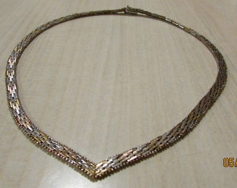Sterling Silver Tri Color Necklace Made in Italy  16""