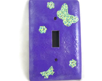 Purple switch plate cover butterflies and flowers polymer clay