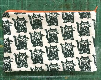 Black Cat Zip Purse-Hand-Printed