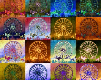 Ferris Wheel. Original Digital Photograph Art Print. Carnival Theme Park. Ride. Wall Art. Wall Decor. 16 FERRIS WHEELS by Mikel Robinson